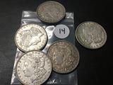 5x$ 1921,1921-S, 1921-D Morgan Dollars