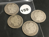 Lot of (4) 1900-S, 1908-O, 1909-S, 1909-S Barber Quarter