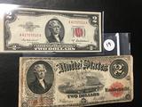1917 $2 Jefferson Note & 1951 Unc. $2 Red Cert.