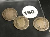 Lot of 3 1892, 1896, 1893 Liberty Dimes