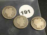 Lot of 3 1897,1898,1899 Liberty Dimes