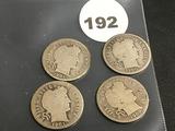 Lot of 4 1900, 1901, 1901-O, 1901-S Liberty Dimes