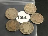 Lot of 5 1903-O, 1904, 1905, 1905-O, 1905-S Liberty Dimes