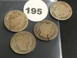 Lot of 4 1906, 1906-O, 1906-S, 1906-D Liberty Dimes