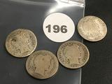 Lot of 4 1907, 1907-O, 1907-S, 1907-D Liberty Dimes