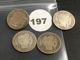Lot of 4 1908, 1908-O, 1908-S, 1908-D Liberty Dimes
