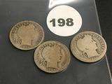 Lot of 3 1909, 1909-D, 1909-O Liberty Dimes