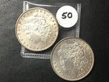 2x$ 1886, 1890-S Morgan Dollars