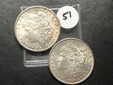 2x$ 1887-S, 1890-S Morgan Dollars