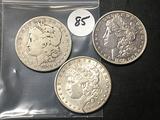 3x$ 1878, 1890, 1891-S Morgan Dollars