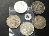 5x$ 1922-S, 1923-S, 1925, 1927-D, 1928-S Peace Dollars