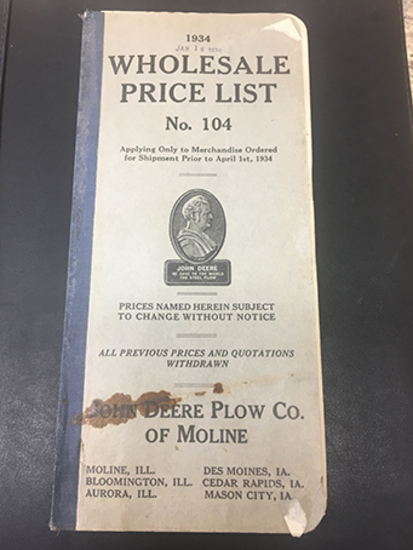1934 John Deere Plow Co of Moline No 104 Wholesale Price List, Overall Good Condition