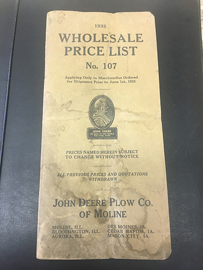 1935 John Deere Plow Co of Moline No 107 Whole Sale Price List, Water Stained as Shown