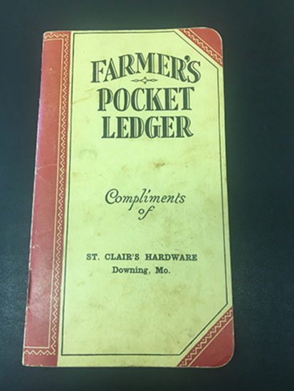 1931-33 St Clair's Hardware Downing, MO Pocket Ledger, Unused Condition