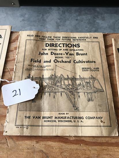 JD Van-Brunt Model CC Field and Orchard Cultivators Directions
