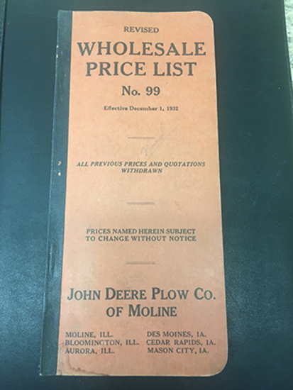 1932 Revised John Deere Plow Co of Moline No 99 Wholesale Price List, Overall Good Condition