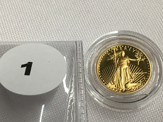 1988 1/10 oz $5 Gold Eagle Proof, Capsule (Roman Numeral)