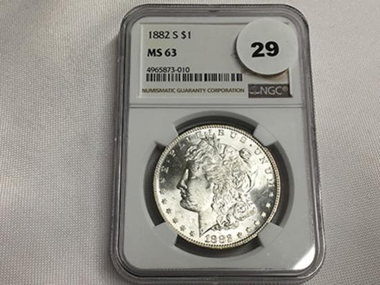 NGC Graded MS 63 1882-S Morgan Dollar