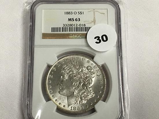 NGC Graded MS 63 1883-O Morgan Dollar