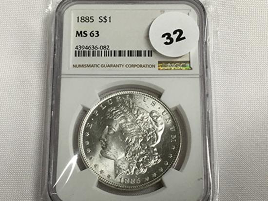 NGC Graded MS 63 1885 Morgan Dollar