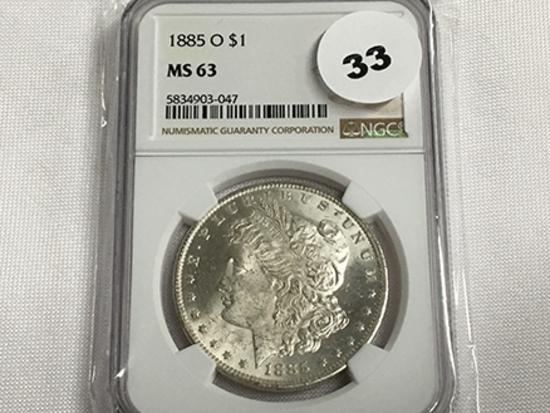 NGC Graded MS 63 1885-O Morgan Dollar