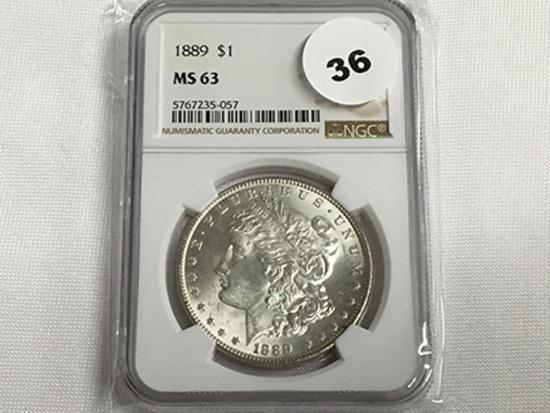 NGC Graded MS63 1889 Morgan Dollar