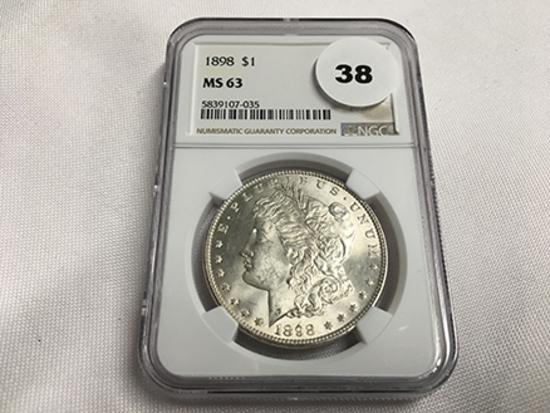 NGC Graded MS63 1898 Morgan Dollar