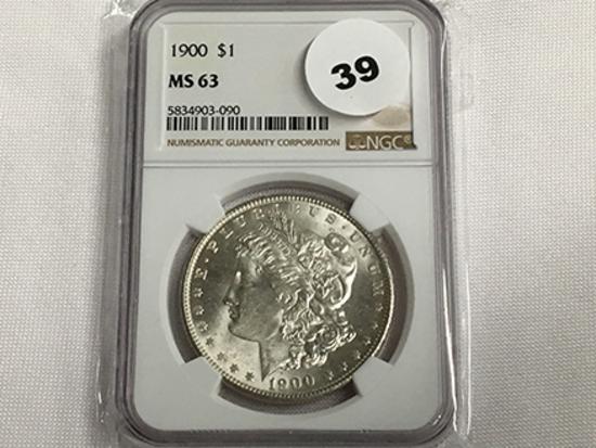 NGC Graded MS63 1900 Morgan Dollar