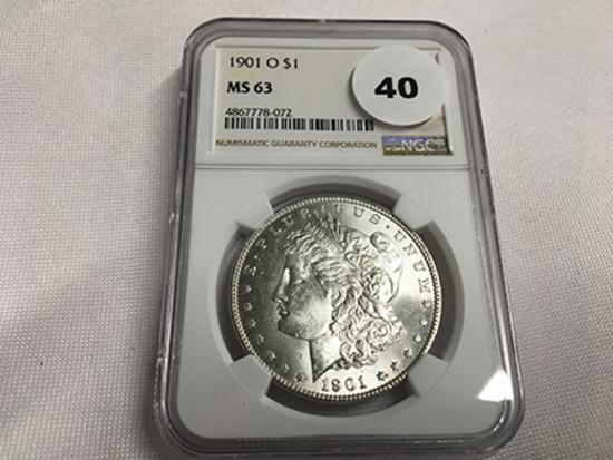 NGC Graded MS63 1901-O Morgan Dollar