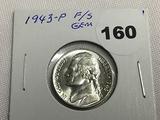 1943 War Nickel F/S Gem BU