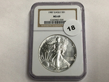 NGC Graded MS 69 1987 American Silver Eagle