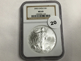 NGC Graded MS 69 2003 American Silver Eagle