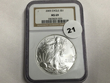 NGC Graded MS 69 2005 American Silver Eagle