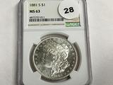 NGC Graded MS 63 1881-S Morgan Dollar