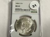 NGC Graded MS 63 1884-O Morgan Dollar