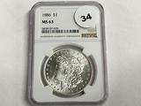 NGC Graded MS 63 1886 Morgan Dollar