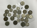 Lot of 8 War Nickels, 11 Silver Dimes, 8 V-Nickels