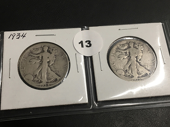 1934 & 1935 Walking Liberty half dollars