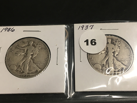 1936 & 1937 Walking Liberty half dollars