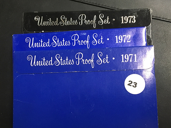 3 Proof sets, 1971,1972 & 1973