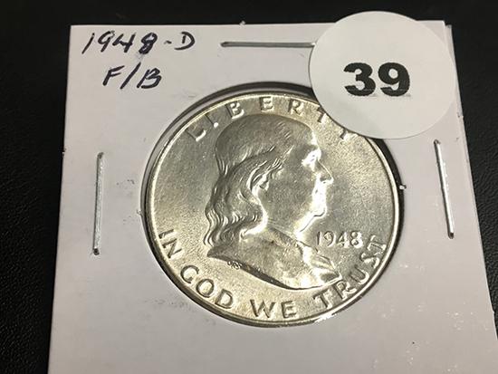 1948-D Franklin half dollar Unc