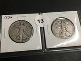 1934 & 1935 Walking Liberty half dollars