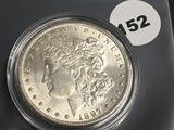 1897 Morgan silver dollar Unc