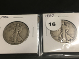 1936 & 1937 Walking Liberty half dollars
