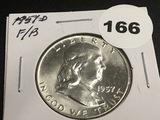 1957-D Franklin half dollar F/B Unc