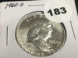 1960-D Franklin half dollar Unc