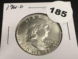 1961-D Franklin half dollar Unc