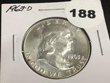 1963-D Franklin half dollar Unc