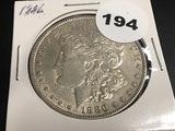 1886 Morgan silver dollar Unc