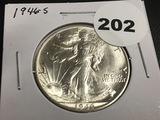 1946-S Walking Liberty half dollar Unc